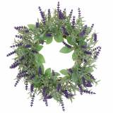 Flocked lavender wreath Ø25cm