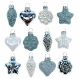 Mini Christmas tree decorations mix assorted glass white, blue 12pcs