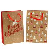 Christmas gift bag with glitter 8cm x 20cm H30cm 2pcs