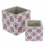 Plant pot with oriental pattern 8cm x8cm / 11cm x 11cm