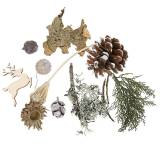 Dry floral handicraft set Advent cones and moss white washed 150g