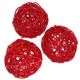 Rattan ball red Ø7,5cm 15pcs