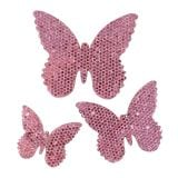 Decoration to control Butterfly Pink-Glitter 5/4 / 3cm 24pcs
