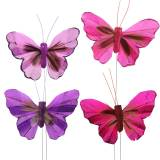 Feather butterfly 7cm pink purple 24pcs with wire