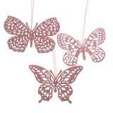 Decoration to hang Schmetterling Pink Glitter 8cm 12pcs
