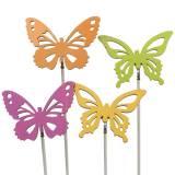 Flower Pick Butterflies Wood 7x5.5cm 12pcs Assorted