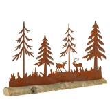 Forest silhouette with animals Patina on wooden foot 30cm x 19cm