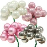 Mini Christmas baubles on wire 40mm Pink, Silver, White 36pcs