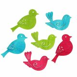 Streudeko wooden birds assorted colors 4cm - 4,5cm