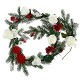 Fir garland with roses snowed 180cm