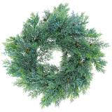Artificial juniper wreath with cones and berries green 48cm