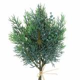 Deco branch juniper with cones green, blue washed 25cm 2pcs