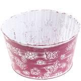 Zinc Bowl with Butterflies Purple, White washed Ø18cm H10cm