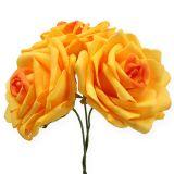 Foam roses dark yellowØ10cm 8pcs