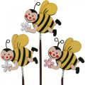 Flower plug bee with flower, decorative plug with metal springs bee decoration 12pcs