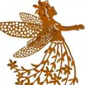 Decorative plug flower elf, spring, metal decoration, fairy on a stick, patina