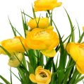 Ranunculus bouquet with grass 35cm yellow
