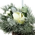 Pine cones with decoration for hanging white 25cm - 30cm